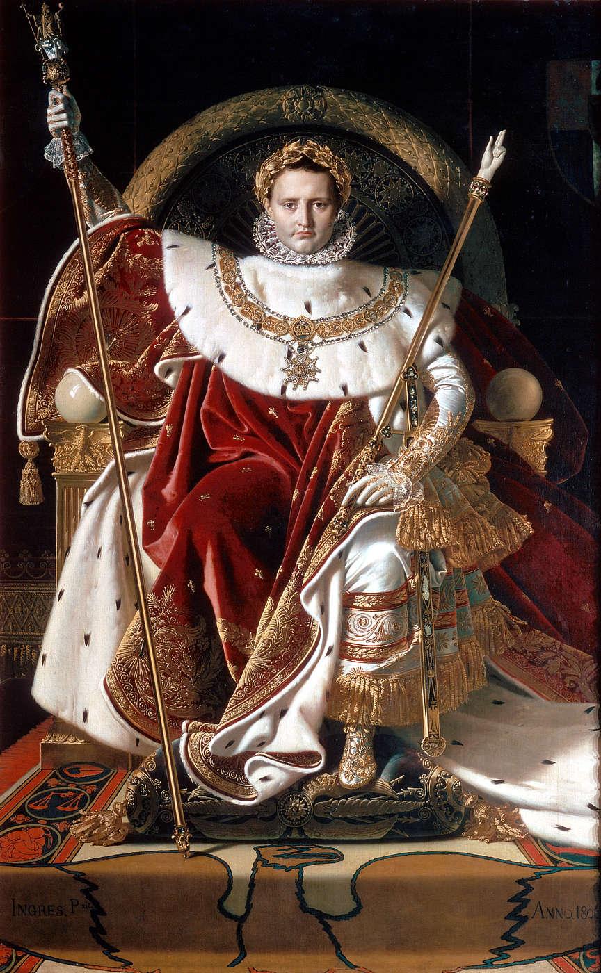 """""""Napoléon Ier sur le trône impérial"""" Ingrès 1806 Musée de l'Armée Wikimedia, Public Domain"""